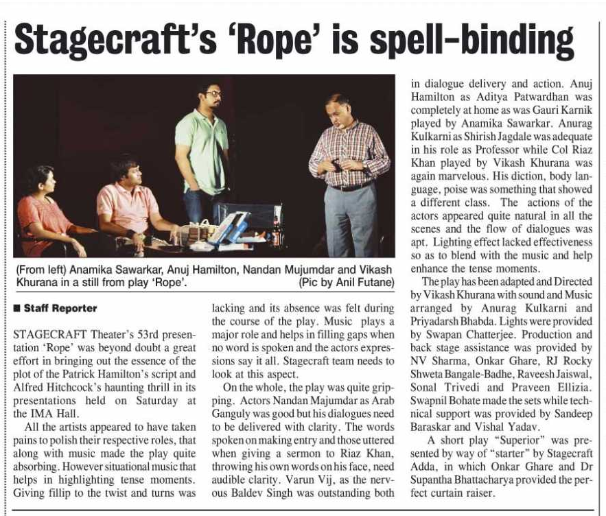 'Rope' Review by The Hitavada, 1st December 2013.